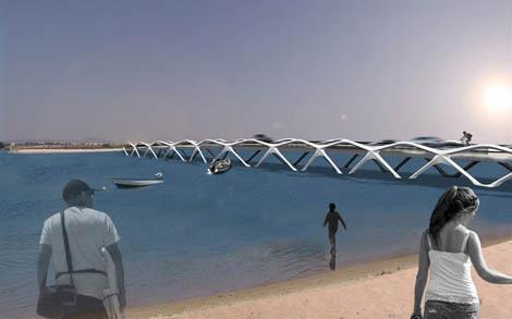 Projeto da nova ponte de acesso à Praia de Faro