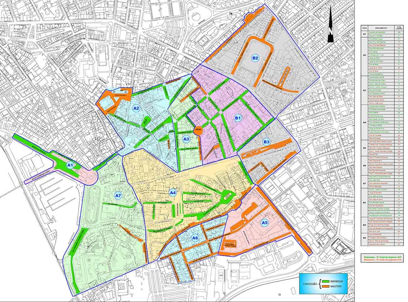 Mapa Parquímetros telemovel Faro