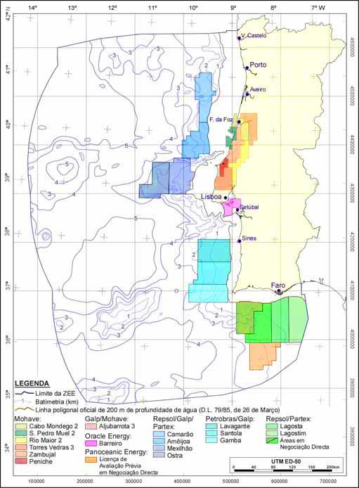 Mapa com os blocos concessionados em toda a costa portuguesa, nomeadamente no Algarve
