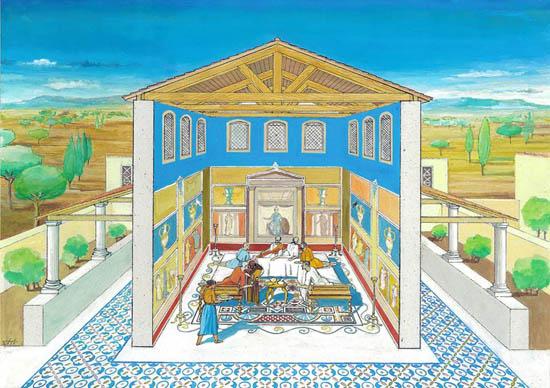 """Recriação artística do """"triclinium"""" ou sala de refeições da villa romanada da Abicada, da autoria de José de Sousa e Jorge Vidal."""