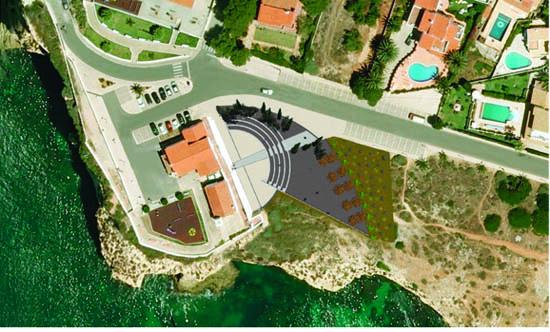 Vista aérea da implantação do futuro auditório ao ar livre