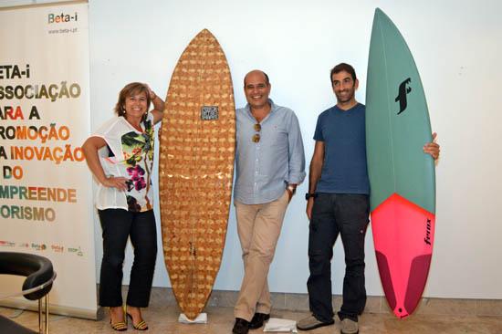 Octávio Lourenço com os outros dois convidados da Beta Talk de Setembro, Sandra Barbedo e Arnaldo Couto, fundadores das Casas do Moinho, em Odeceixe