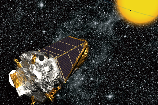 Satélite Kepler a observar um trânsito planetário - Crédito NASAKepler MissionWendy Stenzel