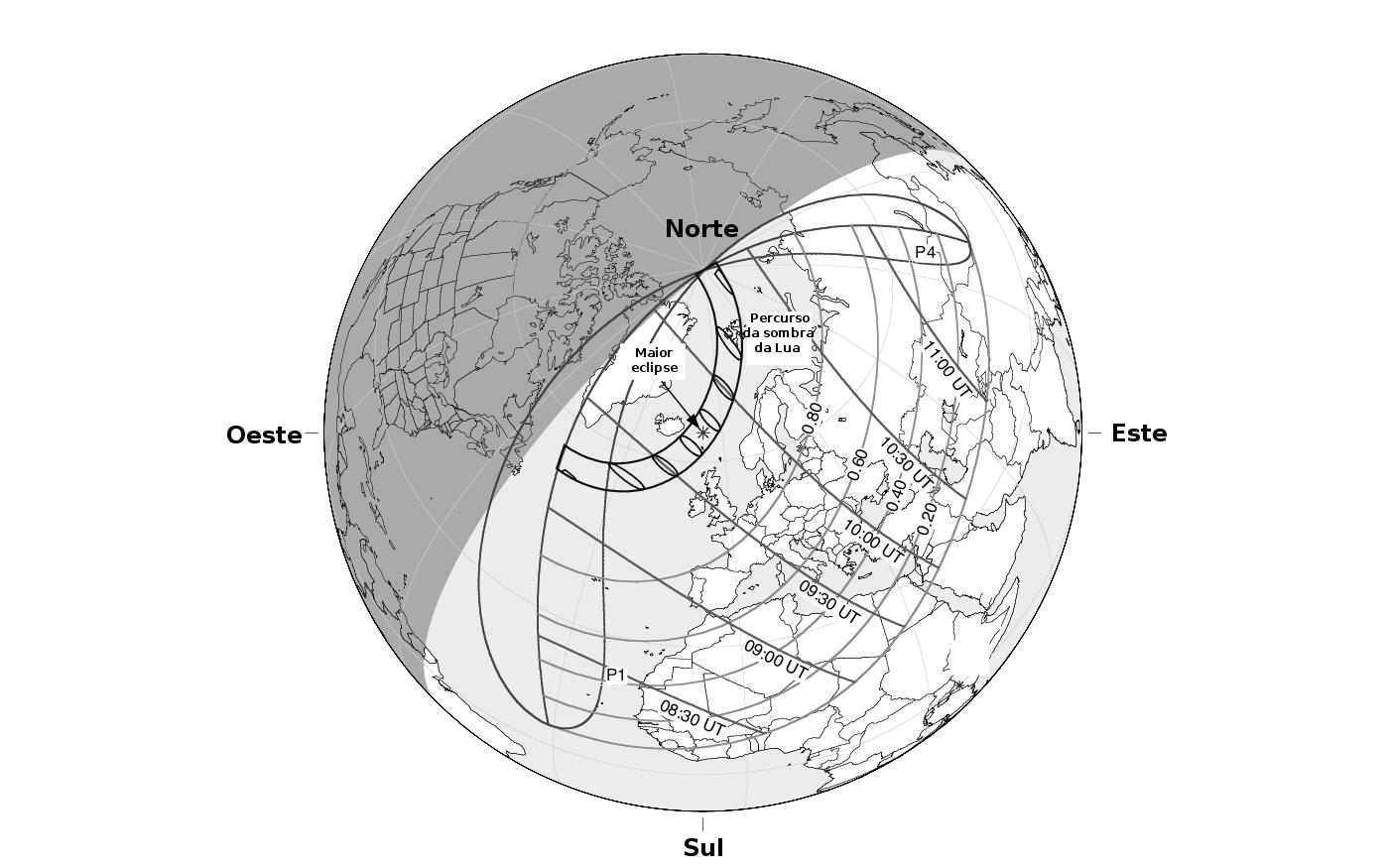 """Eclipse solar do dia 20 de março. Adaptado de """"Observer's Handbook - 2015"""" por F. Espenak"""
