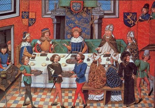 Banquete servido por João de Gaunt, Duque de Lancaster, ao seu genro D. João I de Portugal, numa iluminura do século XV