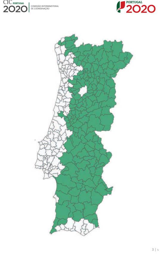 A verde, os municípios abrangidos pela classificação de Territórios de Baixa Densidade