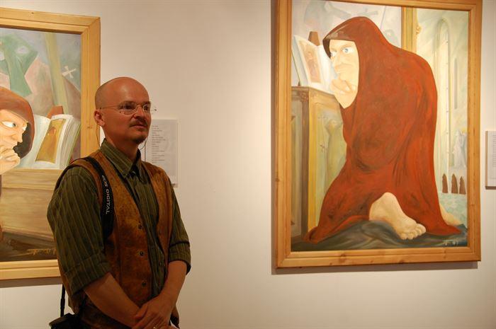 Timo Dillner, na inauguração da sua exposição «Mundos Novos»
