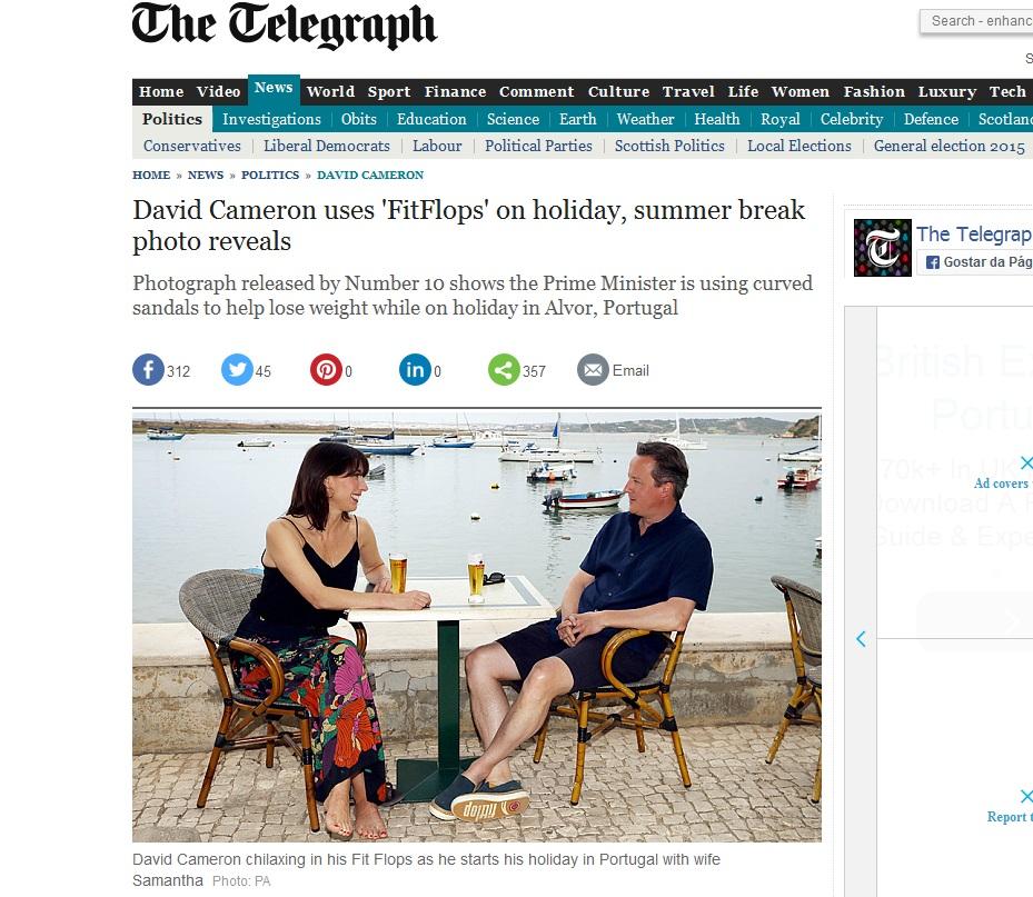 Cameron em Alvor_ Print do Jornal The Telegraph