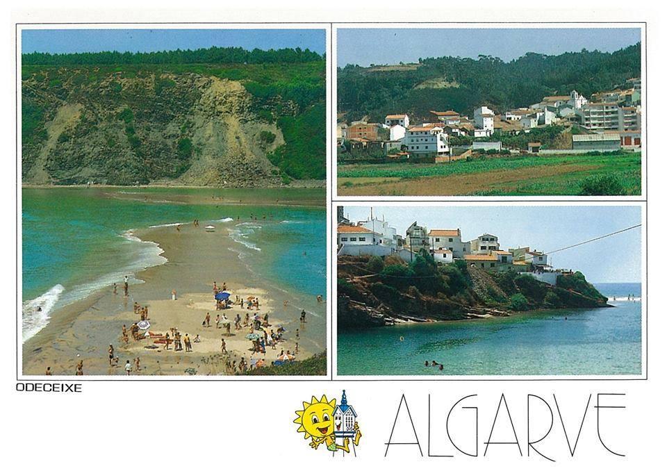 Postal com imagens da praia de Odeceixe no final dos anos 80