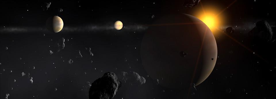 IMAGEM - Imagem artística de um sistema exoplanetário - Crédito ESO