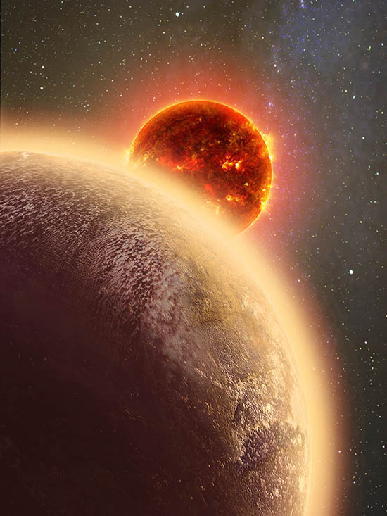 Imagem artística, com o planeta GJ 1132b no canto inferior esquerdo, e a estrela anã vermelha GJ 1132 ao centro