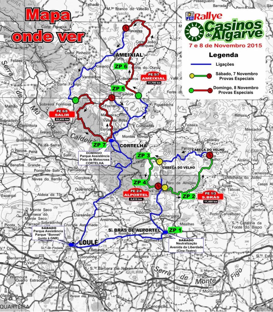 Mapa Troços e zonas público Rallye Casinos 2015
