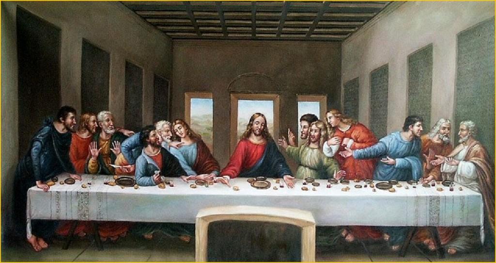 «A Última Ceia», de Leonardo da Vinci, por este pintada na parede do Refeitório de Santa Maria delle Grazie (Milão)