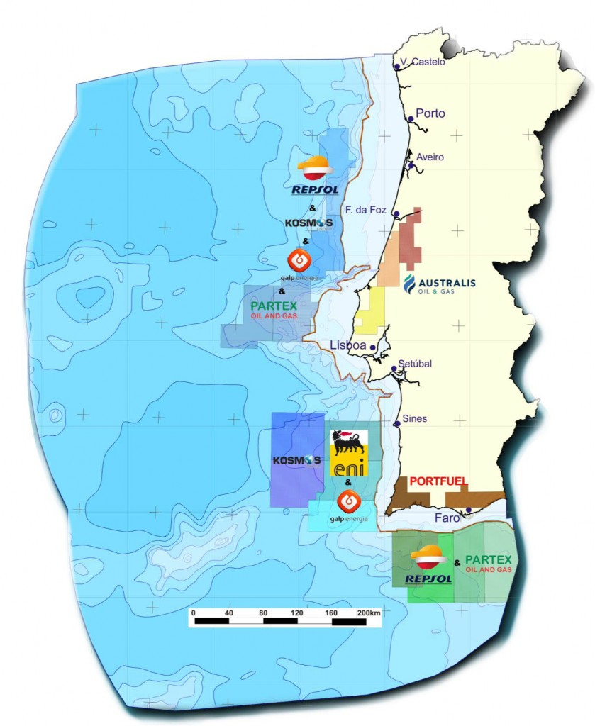 Áreas concessionadas para petróleo no mar