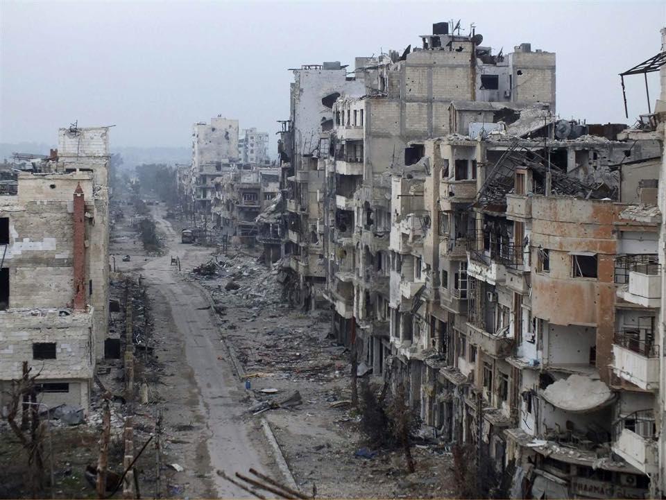 Destruição causada pela guerra numa cidade Siría