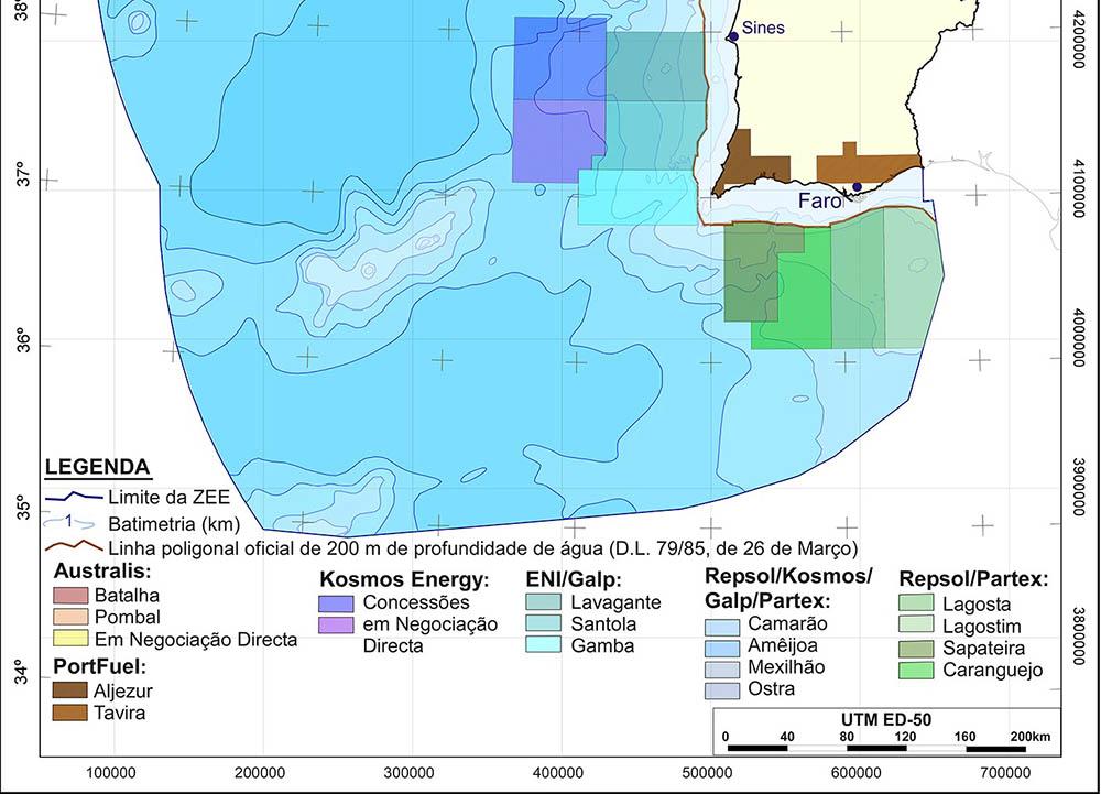 zonas de prospeção de hidrocarbonetos no Algarve