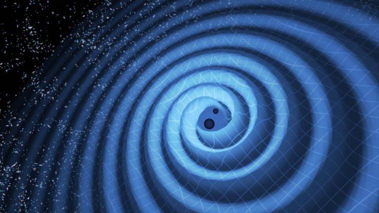 Ilustração dos dois buracos negros a aproximarem-se um do outro e a produzirem ondas gravitacionais T PYLE - LIGO(1)