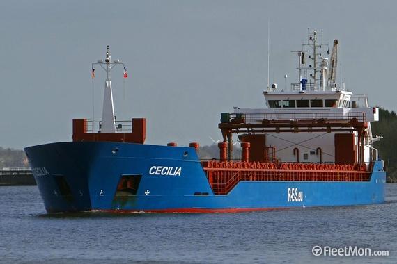 O navio mercante «Cecilia», de onde foi resgatado o tripulante