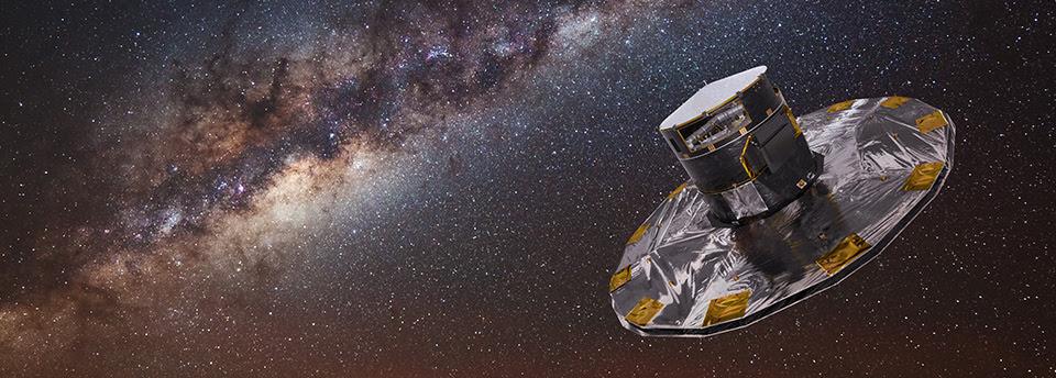 Conceção artística do satélite Gaia, com a Via Láctea em fundo