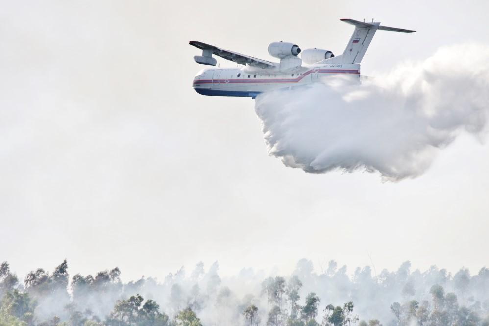 Avião de combate ao fogo no incêndio de Monchique