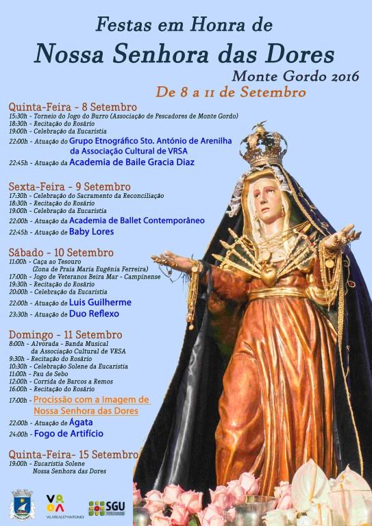 Programa Festa Nossa Senhora das Dores_Monte Gordo_2016