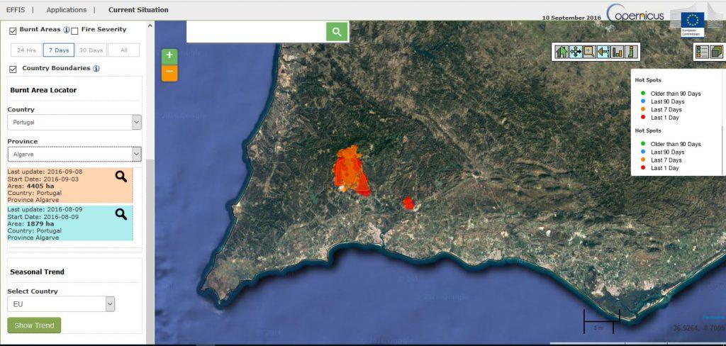 Site EFFFIS UE área ardida Monchique