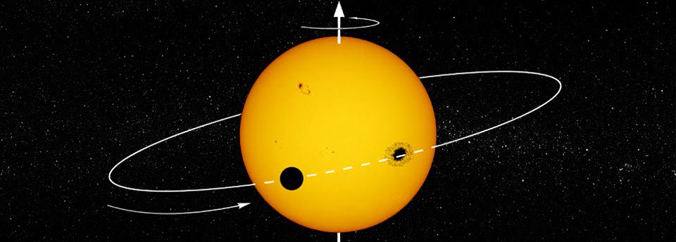 Imagem artística de um exoplaneta a transitar a sua estrela-mãe, com trajetória que o leva a ocultar uma mancha da estrela. Crédito- Ricardo Cardoso Reis