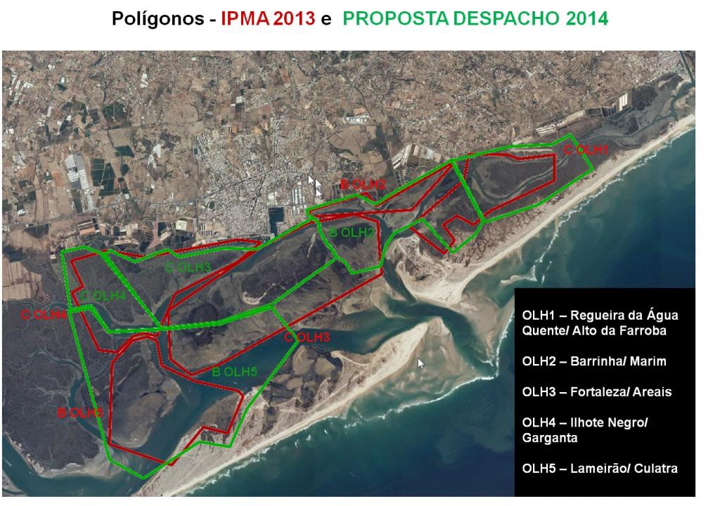 Os polígonos originais estão a vermelho, os novos a verde (clicar para ampliar)